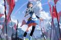 Картинка девушка, меч, арт, лента, vocaloid, вокалоид, знамёна