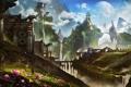 Картинка цветы, горы, холмы, человек, планета, драконы, весна