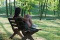 Картинка девушка, настроение, парк, скамья
