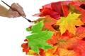 Картинка листья, креатив, краски, кисть, прожилки, рисование