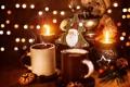 Картинка зима, свет, игрушки, кофе, свеча, зерна, Новый Год
