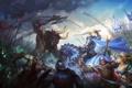 Картинка девушка, конь, магия, воин, арт, монстры, всадник