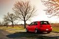 Картинка осень, деревья, красный, volkswagen, red, гольф, golf