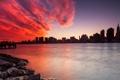Картинка закат, город, река, дома, небоскребы, NYC