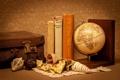 Картинка книги, чемодан, глобус