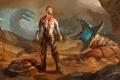 Картинка песок, скалы, монстр, арт, мужчина, Leto, червь