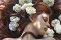 Картинка девушка, рыжие волосы, живопись, art, белые цветы, закрытые глаза, Christiane Vleugels