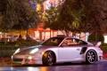 Картинка город, огни, вечер, 911, turbo, porsche
