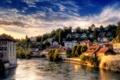 Картинка небо, город, река, Швейцария, Берн
