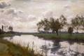 Картинка поле, небо, деревья, пейзаж, тучи, река, берег