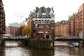 Картинка мост, город, река, здания, Германия, катер, Гамбург
