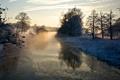 Картинка река, деревья, туман, зима, снег, холод