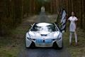 Картинка лес, девушка, белое, BMW, будущие