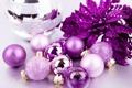 Картинка фиолетовый, фон, праздник, шары, обои, игрушки, новый год