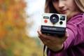 Картинка девушка, фон, Polaroid