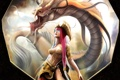 Картинка взгляд, девушка, фантастика, дракон, арт