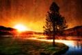 Картинка солнце, закат, горы, природа, туман, река, фото