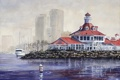Картинка крыша, море, город, маяк, яхта, фонари, акварель