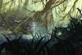 Картинка трава, вода, цветы, река, растения, джунгли, арт