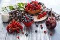 Картинка ягоды, натюрморт, джем, голубика, красная смородина