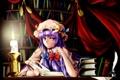 Картинка взгляд, девушка, книги, свеча, удивление, библиотека, touhou
