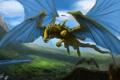 Картинка полет, река, драконы, долина, арт, Peter Balogh
