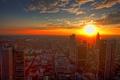 Картинка город, рассвет, небоскребы, дома