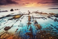 Картинка море, небо, облака, закат, камни, берег