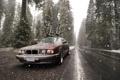 Картинка дорога, снег, велосипед, бмв, скорость, грязь, классика