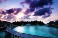 Картинка пальмы, бассейн, утро, Бунгало на воде