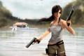 Картинка небо, вода, девушка, птицы, отражение, оружие, пистолеты