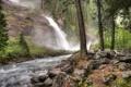 Картинка деревья, река, камни, водопад, поток