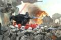 Картинка фантастика, обои, Star Wars, сражение, штурмовики, имперцы, Дарт вейдер