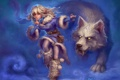 Картинка зима, волк, девочка