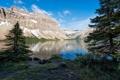 Картинка лес, Канада, природа, озеро, Банф, скала