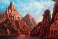 Картинка город, озеро, скалы, дома, арт, индия, статуя