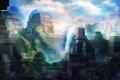 Картинка горы, город, скалы, Индия, арт, храм, India