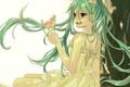 Картинка девушка, радость, дерево, арт, птичка, vocaloid, hatsune miku