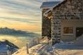 Картинка снег, горы, дом, высота, курорт