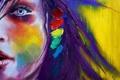 Картинка девушка, краски, рисунок, портрет, картина, холст, bright