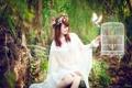 Картинка девушка, настроение, птица, клетка, азиатка