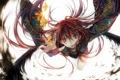 Картинка девушка, цветы, крылья, аниме, арт, кимоно, tsukioka tsukiho