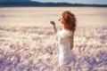 Картинка поле, лето, солнце, цветочек, рыжеволосая девушка