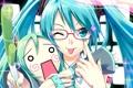 Картинка язык, девушка, кукла, очки, сердечко, Vocaloid, Miku Hatsune