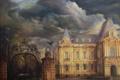 Картинка дом, картина, ворота, арт