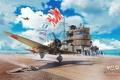 Картинка цепь, авианосец, небо, облака, матросы, палуба, истребитель