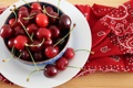 Картинка вишня, ягоды, тарелка, красная, черешня, салфетка