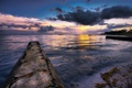 Картинка море, вода, закат, тучи, природа, вечер