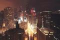 Картинка Вечер, Огни, Ночь, Чикаго, Небоскребы, Здания, Высота