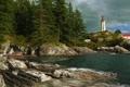 Картинка небо, облака, деревья, скалы, маяк, Канада, Британская Колумбия